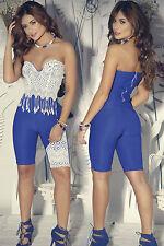 Abito tuta Pizzo scollo Fascia aperto Zip Ballo Crochet Lace Playsuit Dress L