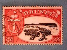 Brunei. QE2 1952 $2 Black & Scarlet. Wmk Mult Script CA. SG112. P13. Used.