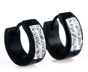 Mens earrings Stainless Steel Crystal Diamante Huggie Hoop Stud Earring Black955