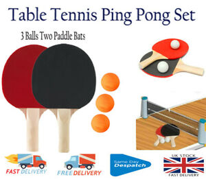 Table Tennis Ping Pong 2 players Set of (3 Balls Two Paddle Bats)