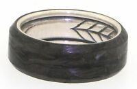 David Yurman Sterling silver & forged carbon men's wedding band ring size 9.75