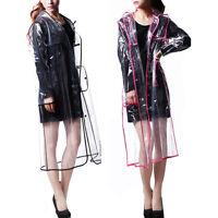Women Men Rain Coat Transparent Raincoat Windproof Jacket Outdoor Travel Sports