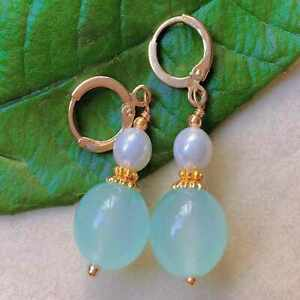 Natural Baby blue chalcedony beads Pearl eardrop gold earrings Cultured