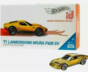2018 HOT WHEELS ID UNIQUELY IDENTIFIABLE CAR 1971 LAMBORGHINI MIURA P400 SV GOLD