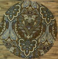 Hand-Tufted Classic Floral Paisley BROWN 8 ft Round Oushak Oriental Area Rug