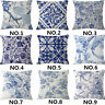 "18"" Blue and White Cotton Linen Throw Pillow Case Cushion Cover Home Decor"