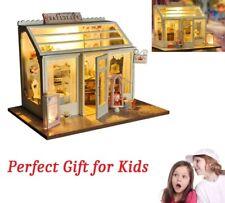 DIY Dollhouse Wooden Miniature Kit Blue Doll House Cottage LED lights Kid's Gift