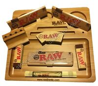 RAW Wooden Bamboo Rolling Tray + Raw Kingsize Classic Papers + Tips + Raw Tin