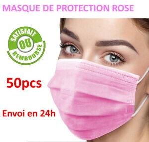 Promo Masque de protection rose lot de 50 pcs, Anti-buée livraison gratuite