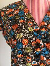 Vintage Dress Barbara Wilson 1970s dropped waist floral V neck raglan sleeve