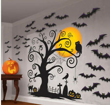 CEMETERY Scene Setter Halloween Party wall decoration kit 5' bats cats tree 32pc