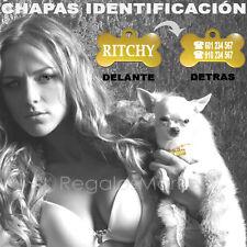 Chapa identificación/Placa identificacion para collar perros hueso dorado