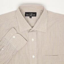 Alfred Dunhill Mens Dress Shirt 15.5 34 Beige Check Plaid Button Front England