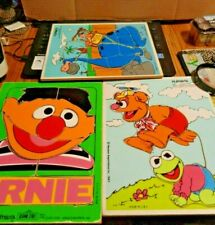 3 Sesame Street Playskool Wooden Puzzles ERNIE,fozzie,kermit fred flintstone
