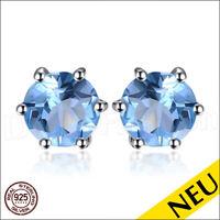 NEU 🌸 OHRRINGE Blautopas 925 Sterling Silber RUND Ohrstecker SKY Blue 🌸 Luxus