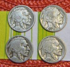 LOT OF 4 INDIAN HEAD / BUFFALO NICKELS~DATES~1927~1935 ~2-1937~STEAMPUNK JEWELRY