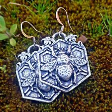 BEE GARDEN Oberon Design EARRINGS Pewter nickel-free hooks honeycomb USA ER61