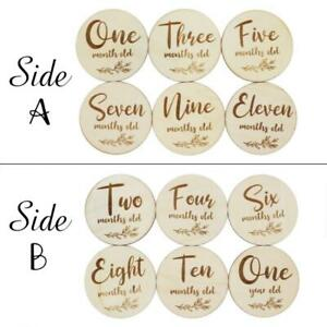6 Pcs Baby Monthly Wooden Cards Newborn Shower Sets Milestone Cards Photo Props
