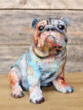 Colourful Abstract Sitting Bulldog Ornament - Funky Ceramic Dog Statue Figurine
