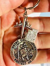 St Christopher patron saint of travellers & aeroplane keyring, World travel gift