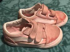 Vans Toddler Pink Size 7 Old Skool Adjustable Suede Skate Trainers