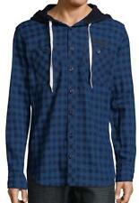 New with Tag-$375 PRPS GOODS & CO. Hooded Button-Down Indigo Cotton Shirt Size M