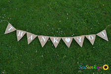 Thank you Hessian Bunting Wedding Decorations Shop Display Restaurant Rustic