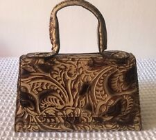 FENDI VINTAGE TOOLED ABSTRACT PRINT TOP HANDLE BAG Used, Great CONDITION