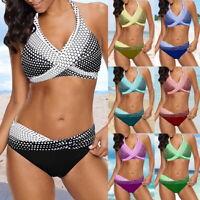 Damen Push Up Bikini Bademode Gepolstert Zweiteilig Badeanzug Schwimmanzug P/D