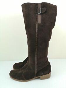 MORLANDS Designer Brown Leather Calf Knee High Heel Platform Boot Size 6 39
