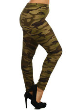 Army Green Camouflage High Waist Leggings Stretchy Pants Plus Size Large XL 1X 2