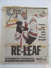 CANADA HOCKEY WINS GOLD MEDAL DAILY NEWS NEWSPAPER 2/25 2002 MARTIN BRODEUR