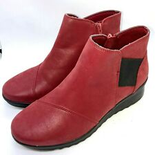 Cloudsteppers by Clarks Caddell Tropic Wedge Ankle Booties Size US 7.5W Red