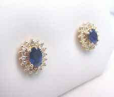 NICE COLOR NATURAL BLUE SAPPHIRES OVAL CUT w/ DIAMONDS 14K GOLD CLUSTER EARRINGS