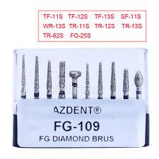 10pcs Dental Porcelain Preparation / Repair Turbine Handpiece Burs Kit FG-109 UK