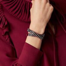 TORY BURCH Rhinestone Double Wrap Bracelet Imperial Garnet Red NEW
