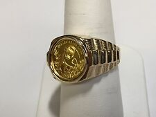 24 KT CHINESE PANDA BEAR COIN SET IN 14 KT SOLID YELLOW GOLD 17 MM COIN RING