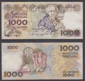 Portugal 1000 Escudos 1987 (VF) Condition Banknote P-181c