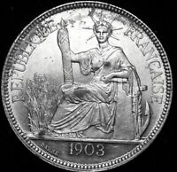 1903 French Indo-China  One Piastre Uncircculated Silver Coin  A47-431