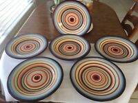 """Tabletops Gallery  TAMPICO Dinner Plates 11"""" x 6 Plates Beautiful  Hand Painted"""