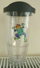 NEW TERVIS INSULATED TUMBLER CUP & LID CLEAR WITH FROG BPA FREE HOT & COLD 24oz
