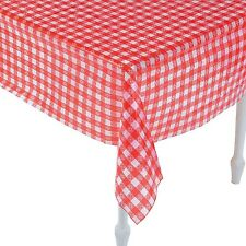 "Red And White Checkered Tablecloths (52"" x 90"") Plastic."