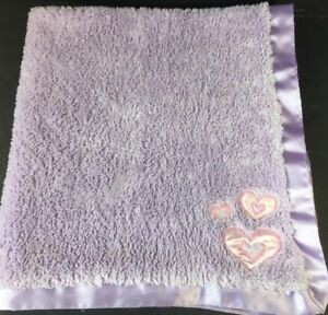 Lullaby Club Purple Baby Security Blanket Lovey Satin Trim Back Pink Hearts Fuzz