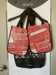 LOT OF 3 Lululemon Small And Large Reusable Shopping Bags