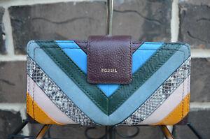 NWT Fossil Logan RFID Leather Tan Tab Clutch Wallet Multi purple snake blue pink