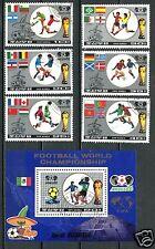 Korea 1986 Soccer  FOOTBALL WORLD CUP Mexiko   s/s + 6v Soccer SET USED