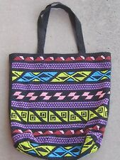 Vintage 70s Large Beaded Bag Purse Geometric Design Ethnic Bright Colors