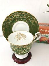 Tea Cup Saucer Hammersley & Co. Bone China Vintage Green Gold Cherub #H1