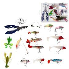 34 Pieces Mixed Bionic Soft Fishing Lure Set Basic Fishing Tackle Tools Lots