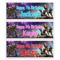 2 Personalised Fortnight Birthday Banner PS4 XBOX COMPUTER GAME Kids Party
